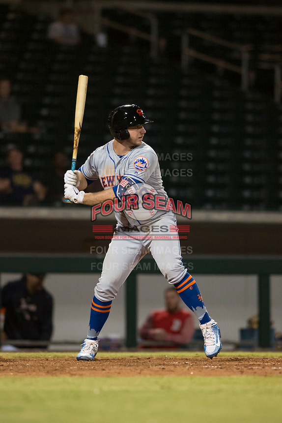 Scottsdale Scorpions first baseman Peter Alonso (20), of the New York Mets organization, at bat during an Arizona Fall League game against the Mesa Solar Sox at Sloan Park on October 10, 2018 in Mesa, Arizona. Scottsdale defeated Mesa 10-3. (Zachary Lucy/Four Seam Images)