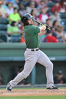 Center fielder Seth Harrison (2) of the Augusta GreenJackets bats in a game against the Greenville Drive on Thursday, June 9, 2016, at Fluor Field at the West End in Greenville, South Carolina. Augusta won, 8-2. (Tom Priddy/Four Seam Images)