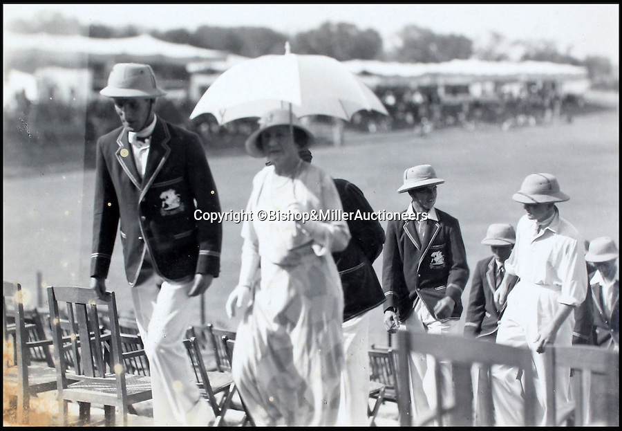 BNPS.co.uk (01202 558833)<br /> Pic: Bishop&MillerAuctioneers/BNPS<br /> <br /> Marquess of Willingdon's wife Marie with Mr Jardine.<br /> <br /> A fascinating album of photographs showing the first England cricket tour of India and the last for controversial 'Bodyline' captain Douglas Jardine has been discovered.<br /> <br /> The rare black and white images show the England star leading the national side at the new cricket ground in Delhi that the colonial British had built in 1933 - the same year as the brutal Ashes series.<br /> <br /> Jardine is featured in many photos as is the Viceroy of India. The album is being sold by auctioneers Bishop and Miller of Suffolk.