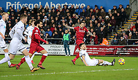 Danny Ings of Liverpool hits a shot at goal during the Premier League match between Swansea City and Liverpool at the Liberty Stadium, Swansea, Wales on 22 January 2018. Photo by Mark Hawkins / PRiME Media Images.