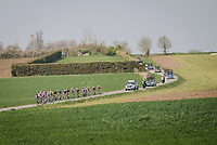 race leaders passing in front of an old World War bunker<br /> <br /> 81st Gent-Wevelgem 'in Flanders Fields' 2019<br /> One day race (1.UWT) from Deinze to Wevelgem (BEL/251km)<br /> <br /> ©kramon