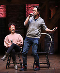 """Sasha Hollinger with Lin-Manuel Miranda making a surprise appearance during a Q & A before The Rockefeller Foundation and The Gilder Lehrman Institute of American History sponsored High School student #EduHam matinee performance of """"Hamilton"""" at the Richard Rodgers Theatre on 3/20/2019 in New York City."""