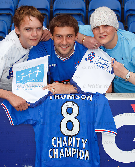 Kevin Thomson at Ibrox Stadium with Mark Rae and Jordan Watters to promote the Teenage Cancer Trust as the Rangers Charity Foundation's new charity partner for season 2009/10