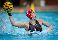 Stanford, CA - March 8, 2020: Madison Stamen at Avery Aquatic Center. The No. 2 Stanford Women's Water Polo team beat the No. 6 Arizona State Sun Devils 9-8.