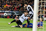 Luis Suarez of FC Barcelona (R) trips up with Martin Montoya Torralbo of Valencia CF (L) during the Copa Del Rey 2017-18 match between FC Barcelona and Valencia CF at Camp Nou Stadium on 01 February 2018 in Barcelona, Spain. Photo by Vicens Gimenez / Power Sport Images