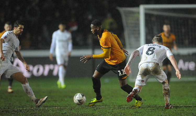 Newport County's Jamille Matt gets past Middlesbrough's Adam Clayton<br /> <br /> Photographer Ian Cook/CameraSport<br /> <br /> Emirates FA Cup Fourth Round Replay - Newport County v Middlesbrough - Tuesday 5th February 2019 - Rodney Parade - Newport<br />  <br /> World Copyright &copy; 2019 CameraSport. All rights reserved. 43 Linden Ave. Countesthorpe. Leicester. England. LE8 5PG - Tel: +44 (0) 116 277 4147 - admin@camerasport.com - www.camerasport.com