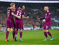 Manchester City Kevin De Bruyne and David Silva celebrating  Gabriel Jesus goal during the Premier League match between Tottenham Hotspur and Manchester City at Wembley Stadium, London, England on 14 April 2018. Photo by Andrew Aleksiejczuk / PRiME Media Images.