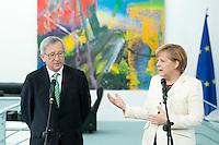 Bundeskanzlerin Angela Merkel (CDU) empfaengt am Donnerstag (16.05.13) im Bundeskanzleramt in Berlin Jean-Claude Juncker, Premierminister von Luxenburg. .Foto: Axel Schmidt/CommonLens