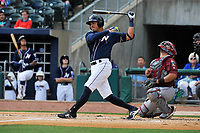 Northwest Arkansas Naturals third baseman Mauricio Ramos (3) swings during a game against the Frisco RoughRiders at Arvest Ballpark on May 24, 2017 in Springdale, Arkansas.  The RoughRiders defeated the Naturals 7-6 in the completion of the game suspended on May 23, 2017.  (Dennis Hubbard/Four Seam Images)