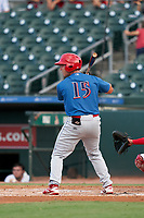 Clearwater Threshers Ben Aklinski (15) bats during a Florida State League game against the Palm Beach Cardinals on August 9, 2019 at Roger Dean Chevrolet Stadium in Jupiter, Florida.  Palm Beach defeated Clearwater 3-0 in the second game of a doubleheader.  (Mike Janes/Four Seam Images)