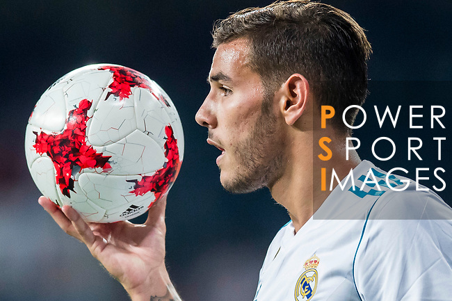 Theo Hernandez of Real Madrid reacts during the Santiago Bernabeu Trophy 2017 match between Real Madrid and ACF Fiorentina at the Santiago Bernabeu Stadium on 23 August 2017 in Madrid, Spain. Photo by Diego Gonzalez / Power Sport Images
