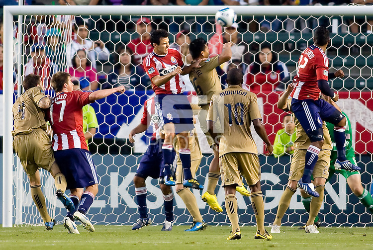 CD Chivas USA midfielder Jonathan Bornstein (13) attempts a head shot on goal. The Philadelphia Union and CD Chivas USA played to 1-1 draw at Home Depot Center stadium in Carson, California on Saturday evening July 3, 2010..