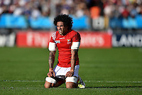 Hale T Pole of Tonga takes a breather during a break in play. Rugby World Cup Pool C match between Tonga and Namibia on September 29, 2015 at Sandy Park in Exeter, England. Photo by: Patrick Khachfe / Onside Images