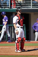 Georgia Bulldogs catcher Mason Meadows (30) on defense against the LSU Tigers at Foley Field on March 23, 2019 in Athens, Georgia. The Bulldogs defeated the Tigers 2-0. (Brian Westerholt/Four Seam Images)