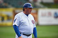 South Bend Cubs manager Buddy Bailey (46) during a Midwest League game against the Cedar Rapids Kernels at Four Winds Field on May 8, 2019 in South Bend, Indiana. South Bend defeated Cedar Rapids 2-1. (Zachary Lucy/Four Seam Images)