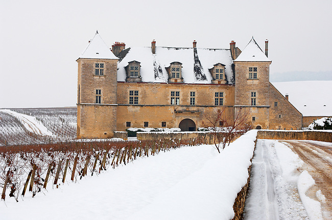 Chateau Clos de Vougeot in the snow.  France.