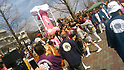 A huge pink phallus is paraded on a float during the Kanamara Festival in Kawasaki on April 2, 2017, Kanagawa, Japan. The Kanamara Matsuri or Festival of the Steel Phallus is held on the first Sunday of April at the Kanayama shrine. The shrine celebrates a legend of a steel penis and was frequented by prostitutes who wished to pray for protection from sexually transmitted diseases. Visitors now wish for easy delivery, marriage and matrimonial harmony. The unusual festival has become a tourist attraction attracting many overseas visitors and phallus shaped candy and  decorations are sold. (Photo by Hiroshi Omori/AFLO)