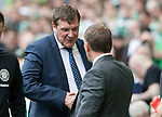 Celtic v St Johnstone &hellip;26.08.17&hellip; Celtic Park&hellip; SPFL<br />Tommy Wright shakes hands with Brendan Rodgers prior to kick off<br />Picture by Graeme Hart.<br />Copyright Perthshire Picture Agency<br />Tel: 01738 623350  Mobile: 07990 594431