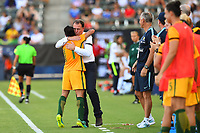 Carson, CA - Thursday August 03, 2017: Lisa De Vanna, Alen Stajcic during a 2017 Tournament of Nations match between the women's national teams of Australia (AUS) and Brazil (BRA) at the StubHub Center.
