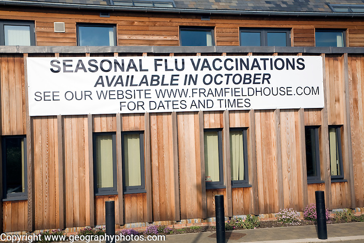 Sign on health centre for seasonal flu vaccinations