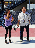Mar. 1, 2009; Las Vegas, NV, USA; Former baseball player Pete Rose with a female companion during the Shelby 427 at Las Vegas Motor Speedway. Mandatory Credit: Mark J. Rebilas-