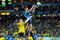 Dalton Papalii takes lineout ball during the Super Rugby Aotearoa match between the Hurricanes and Blues at Sky Stadium in Wellington, New Zealand on Saturday, 18 July 2020. Photo: Dave Lintott / lintottphoto.co.nz