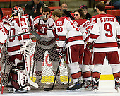 - The Harvard University Crimson defeated the visiting Yale University Bulldogs 8-2 in the third game of their ECAC Quarterfinal matchup on Sunday, March 11, 2012, at Bright Hockey Center in Cambridge, Massachusetts.