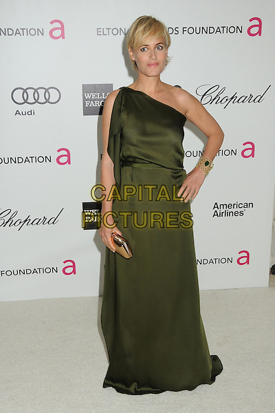 Judith Godreche.20th Annual Elton John Academy Awards Viewing Party held at West Hollywood Park, West Hollywood, California, USA..February 26th, 2012.full length green one shoulder dress hand on hip.CAP/ADM/BP.©Byron Purvis/AdMedia/Capital Pictures.