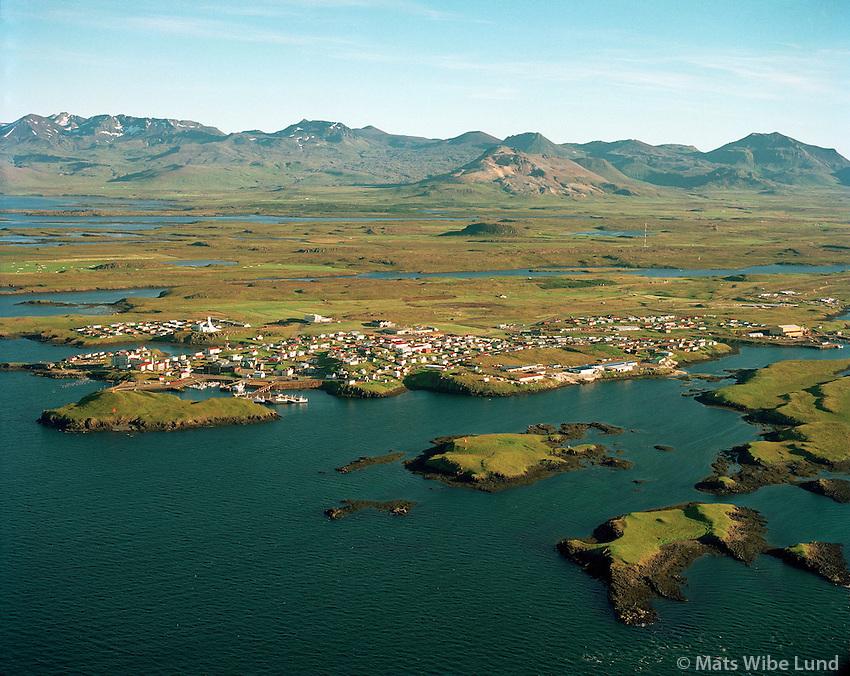 Stykkishólmur loftmynd til suðurs.Stykkisholmur, aerial view south.