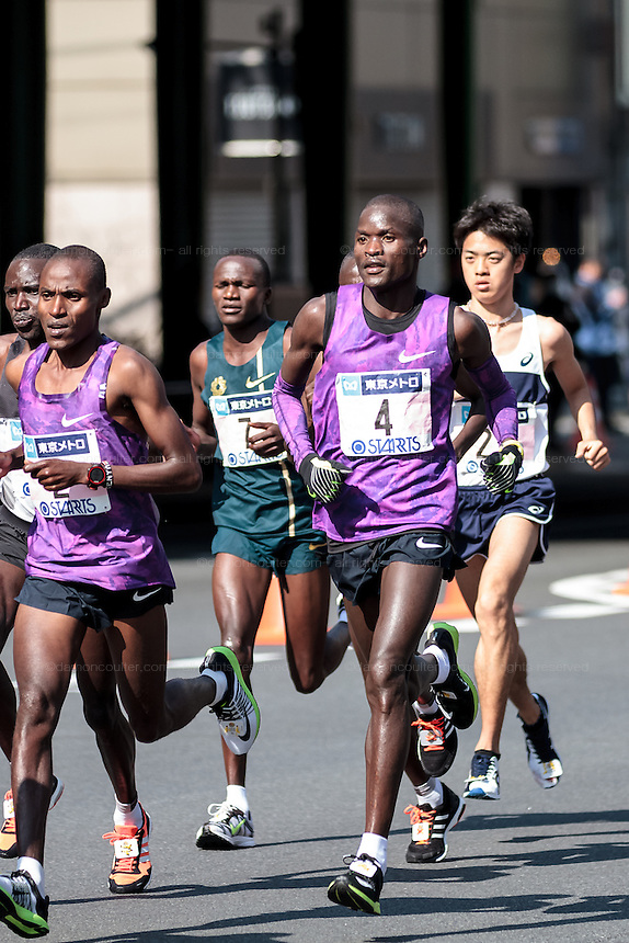 Kenyan runner, Abel Kurui (Number 4) running in the 10th Tokyo Marathon took place on a fine spring day in Tokyo Japan. Sunday February 28th 2016. Thirty-six thousand runners took part with Ethiopian,  Feyisa Lilesa winning the  men's competition and  Kenyan, Helah Kiprop victorious in the women's race.