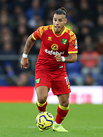 23rd  November 2019; Goodison Park , Liverpool, Merseyside, England; English Premier League Football, Everton versus Norwich City; Onel Hernandez of Norwich City runs with the ball  - Strictly Editorial Use Only. No use with unauthorized audio, video, data, fixture lists, club/league logos or 'live' services. Online in-match use limited to 120 images, no video emulation. No use in betting, games or single club/league/player publications