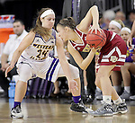 SIOUX FALLS, SD: MARCH 4: Taylor Higginbotham #24 of Western Illinois defends Lauren Loven #3 of Denver on March 4, 2017 during the Summit League Basketball Championship at the Denny Sanford Premier Center in Sioux Falls, SD. (Photo by Dick Carlson/Inertia)