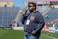 Bridgeview, IL - Saturday April 22, 2017: National Anthem singer during a regular season National Women's Soccer League (NWSL) match between the Chicago Red Stars and FC Kansas City at Toyota Park.
