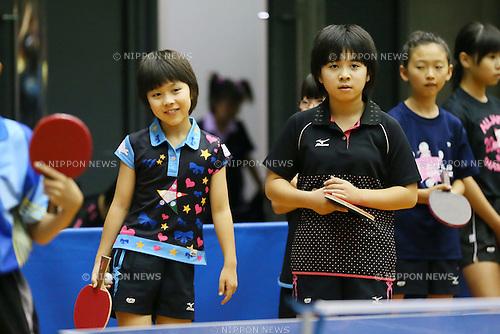 (L to R) <br /> Ako Hirano, <br /> Sewa Hirano, <br /> JULY 27, 2013 - Table Tennis : <br /> All Japan Table Tennis Championships <br /> Hopes, Cub and Bambi class <br /> at Green Arena Kobe, Hyogo, Japan. <br /> (Photo by YUTAKA/AFLO SPORT)