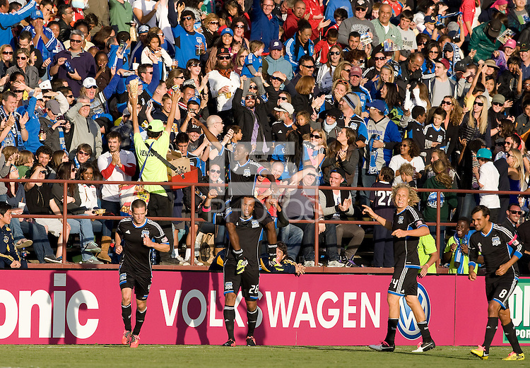 Marvin Chavez of Earthquakes celebrates with the teammates after scoring goal during the second half of the game against Galaxy at Buck Shaw Stadium in Santa Clara, California on October 21st, 2012.  San Jose Earthquakes and Los Angeles Galaxy tied at 2-2.
