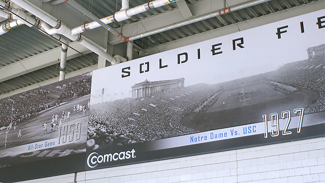 Soldier Field, built in the early twentieth century has been renovated to serve Chicago for another hundred years and is the home of the Chicago Bears professional NFL Football team.  Graphics in the corriders display the history of the team.
