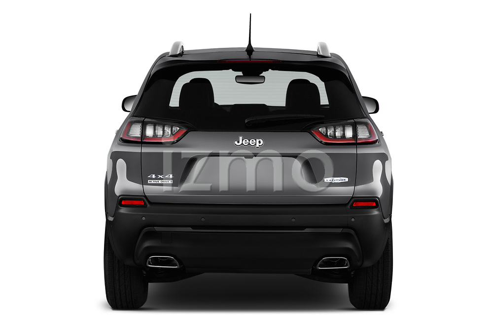 Straight rear view of a 2019 Jeep Cherokee Latitude Plus 4X4 5 Door SUV stock images