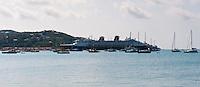 Sailboats and cruise ship docked at Charlotte Amalie, U.S. Virgin Islands.