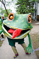 Portrait of frog with red tongue representing creatures from water. MayDay Parade and Festival. Minneapolis Minnesota USA