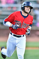 Elizabethton Twins second baseman Carson Crites (39) runs to first base during a game against the Pulaski Yankees at Joe O'Brien Field on June 27, 2016 in Elizabethton, Tennessee. The Yankees defeated the Twins 6-4. (Tony Farlow/Four Seam Images)