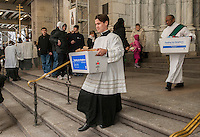 """Kick-off for the 3rd annual """"Feeding our Neighbors: An Interfaith Response"""" in front of St. Patrick'sCathedral in New York on Sunday, January 19. 2014. The campaign is an interfaith effort between Catholic and Jewish social service organizations to collect food donations to re-fill the sorely depleted food pantries, meal programs  and soup kitchens that serve those in need.  (© Richard  B. Levine)"""