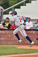 Danville Braves shortstop Marcus Mooney (44) runs to first base during a game against the Johnson City Cardinals at Howard Johnson Field at Cardinal Park on July 26, 2016 in Johnson City, Tennessee. The Braves defeated the Cardinals 10-8. (Tony Farlow/Four Seam Images)