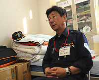 The fishing union have their fisrt meeting two months after the Tsunami at  Minamisanriku, Myiagi, Japan.The fishing port of Minamisanriku, Miyagi, Japan where the popultion was reduced from 18,000 to about 8,000 when 10,0000 where washed out to sea.<br /> <br /> Photo by Richard Jones/ Sinopix