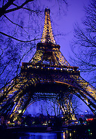 Eiffel Tower and trees at twilight Paris France.