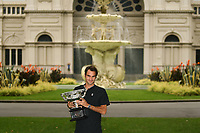 January 30, 2017: Roger Federer of Switzerland pose for photographs with his trophy the at the Royal Exhibition Building after winning the Men's Final against Rafael Nadal of Spain in the 2017 Australian Open Grand Slam tennis tournament in Melbourne, Australia. Photo Sydney Low