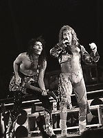 David Lee Roth Band featuring Steve Vai and Billy Sheehan performing at the Rosemoint Horizion in Rosemont, Illinois. <br /> Sept.19,1986<br /> CAP/MPI/GA<br /> ©GA/MPI/Capital Pictures