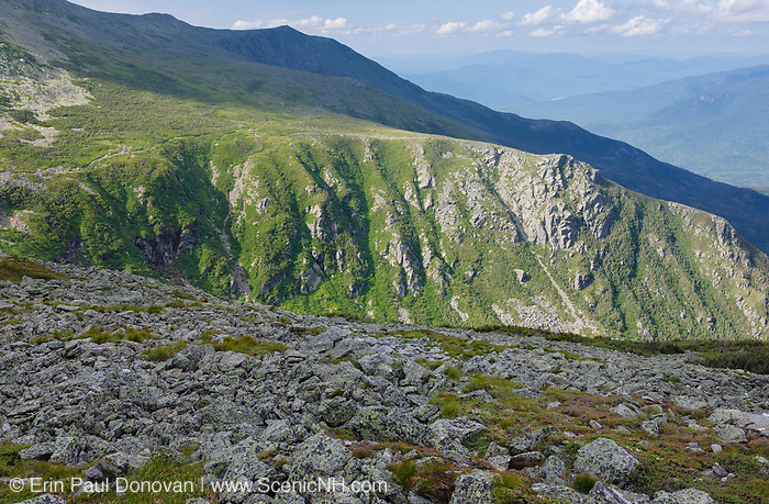 Tuckerman Ravine, located on the eastside of Mount Washington, from Davis Path in Sargent's Purchase in the New Hampshire White Mountains on a cloudy summer day; this area is part of the Presidential Range. Tuckerman Ravine is named for Professor Edward Tuckerman, a botanist and early explorer of the White Mountains.