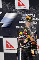 MELBOURNE, 27 MARCH - Sebastian Vettel (Germany) of the Red Bull Racing team celebrates his win at the 2011 Formula One Australian Grand Prix at the Albert Park Circuit, Melbourne, Australia. (Photo Sydney Low / syd-low.com)