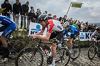Tiesj Benoot (BEL/Lotto Soudal) up the cobbles of the  Koppenberg. <br /> <br /> 102nd Ronde van Vlaanderen 2018<br /> 1day race: Antwerp › Oudenaarde - BEL (265k)