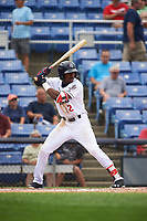 Binghamton Rumble Ponies center fielder Champ Stuart (2) at bat during a game against the Hartford Yard Goats on July 9, 2017 at NYSEG Stadium in Binghamton, New York.  Hartford defeated Binghamton 7-3.  (Mike Janes/Four Seam Images)